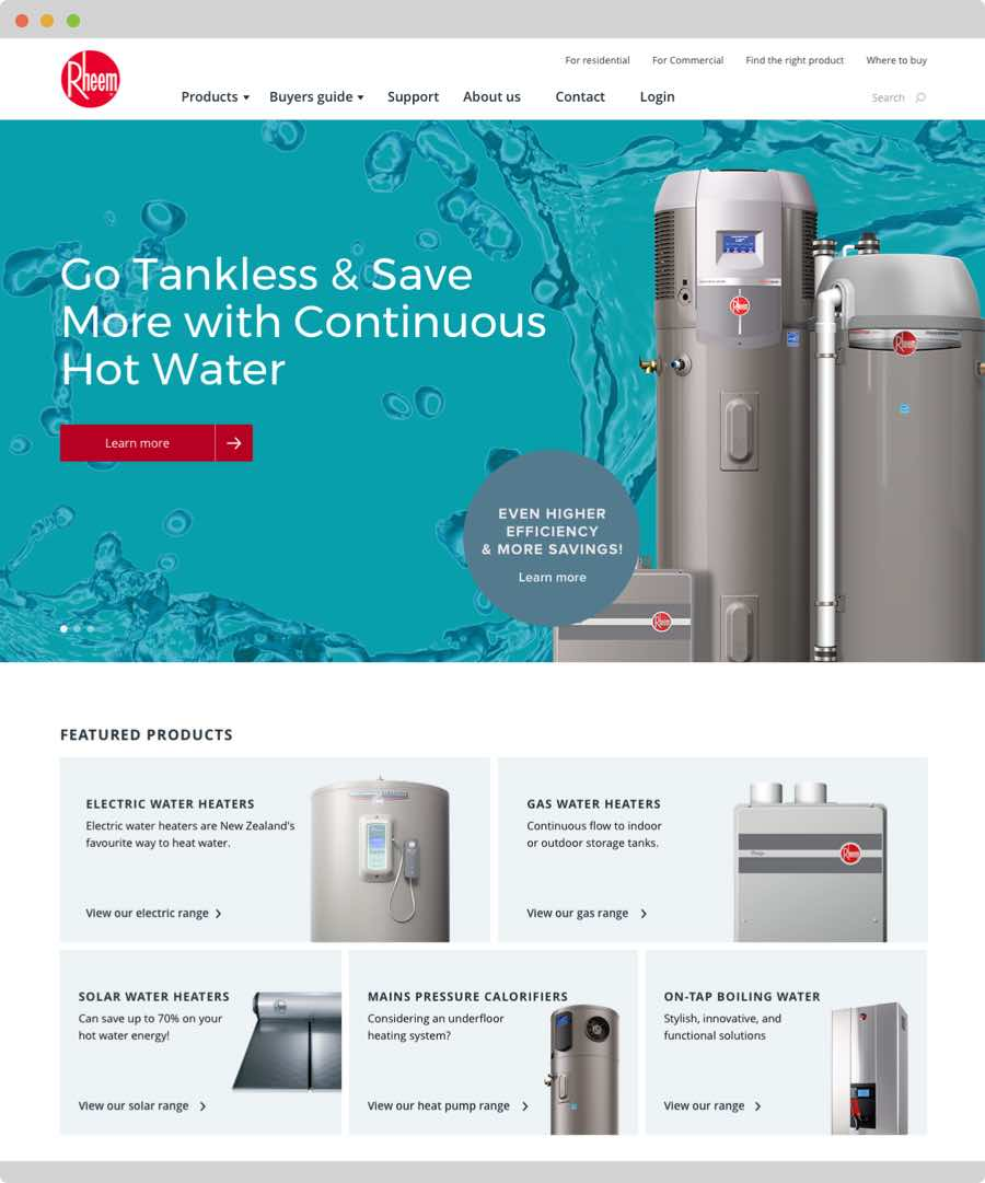 Rheem Website Design