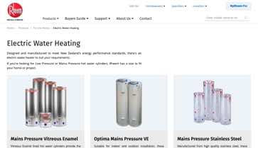 Website Design Rheem Product List