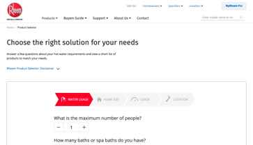 Website Design Rheem Product Selector