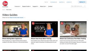 Website Design Rheem Video Library